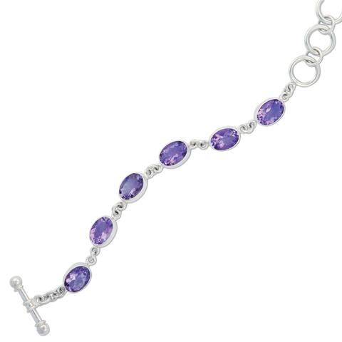 Handmade Sterling Silver Amethyst Bracelet (Mexico)