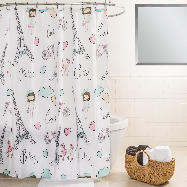 Splash Home Paris Love Pink Fabric Shower Curtain