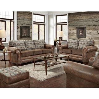American Furniture Classics Four Piece Set In Deer Teal Lodge Including Sofa Loveseat Chair