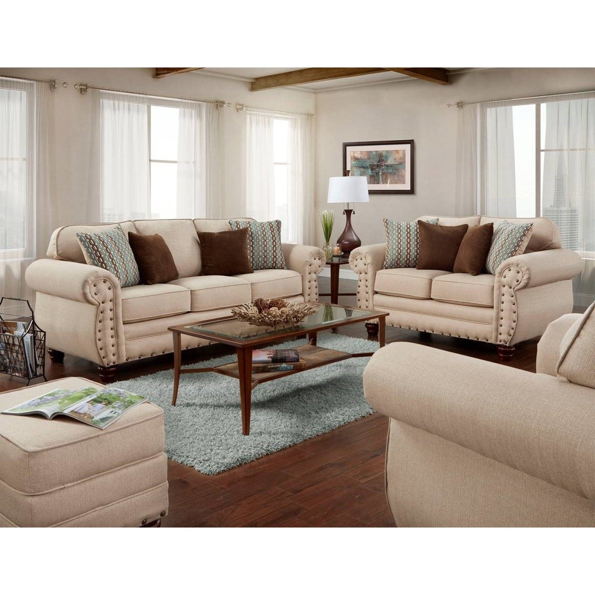 American Furniture Classics Abington Sand Four Piece Set Including Sofa Loveseat Chair And Ottoman Overstock 15659907