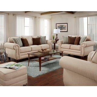 American Furniture Classics Abington Sand Four Piece Set including Sofa, Loveseat, Chair and Ottoman
