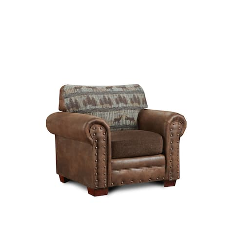 American Furniture Classics Deer Teal Tapestry Lodge Upholstered Chair
