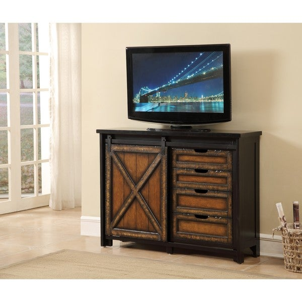Barnhill Black And Brown Four Drawer One Sliding Door Media Cabinet