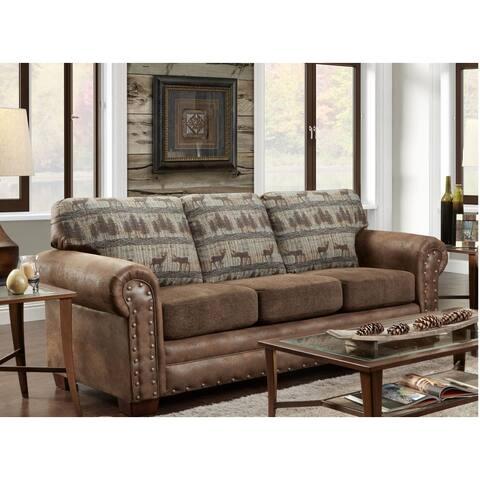 American Furniture Classics Deer Teal Lodge Tapestry Sofa Sleeper