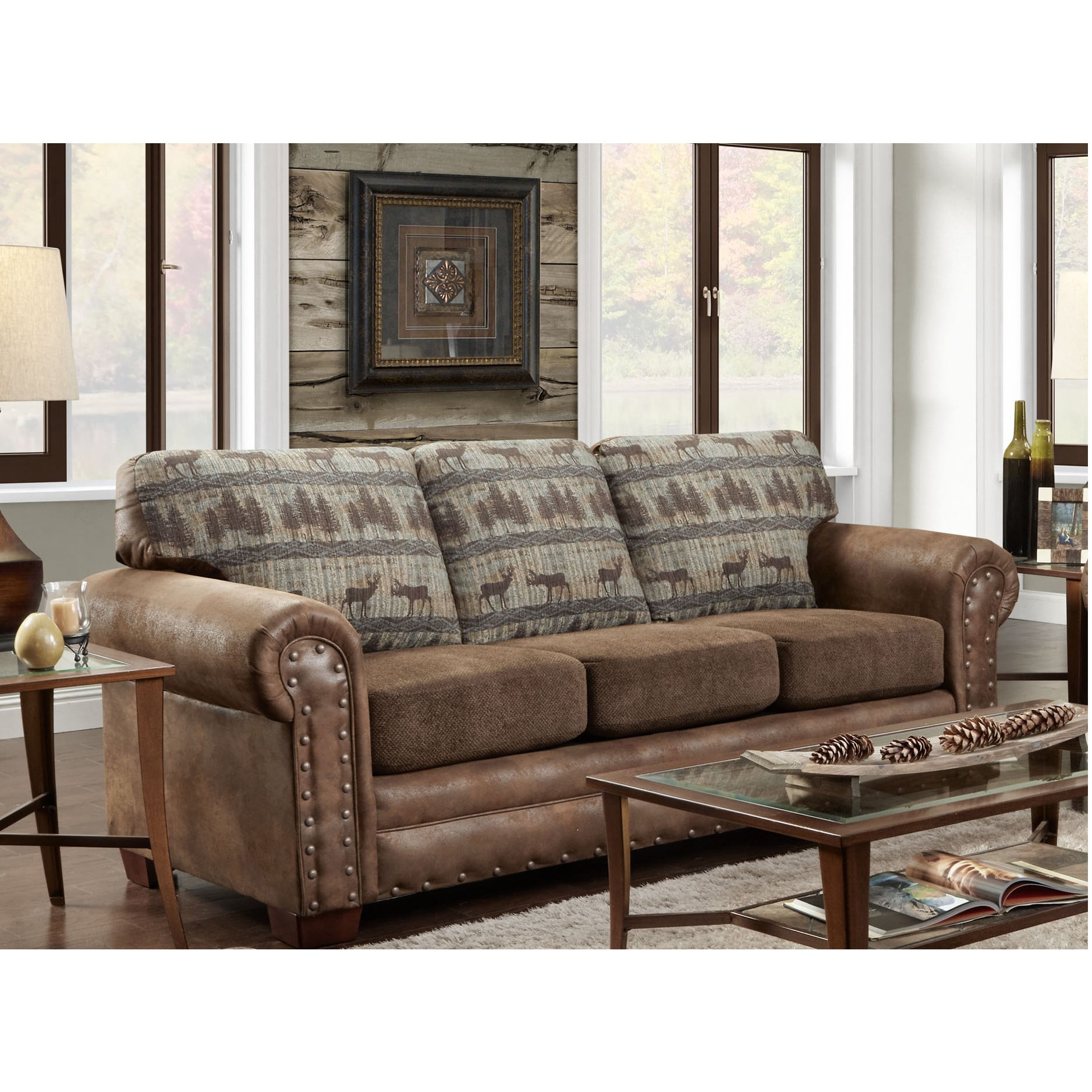 American Furniture Classics Deer Teal Lodge Tapestry Sofa Sleeper