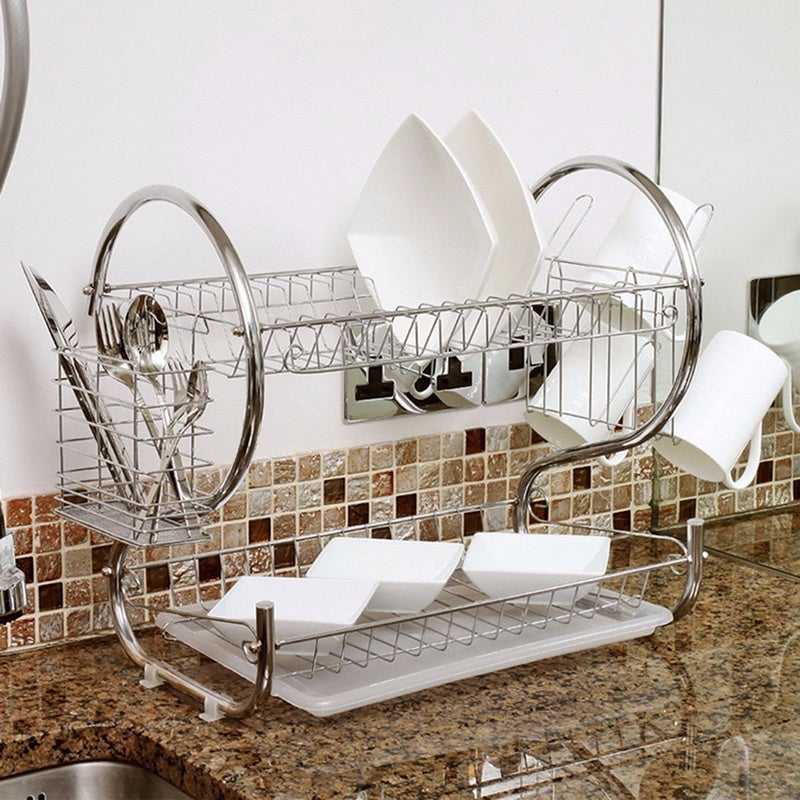 2-Tier Chrome (Grey) Dish Drainer Rack (Drainer Rack) (Me...