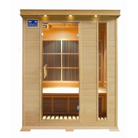 Aspen 3-person Hemlock Sauna with Carbon Heaters, Chromatherapy Lighting, FM Radio with MP3 and Dual Control Panels