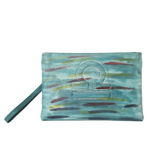 Diophy Genuine Leather Large Constellation Clutch Accented with Removable Wristlet Strap