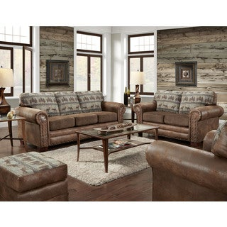 American Furniture Classics Four Piece Set in Deer Teal Lodge including sofa sleeper, loveseat, chair and ottoman