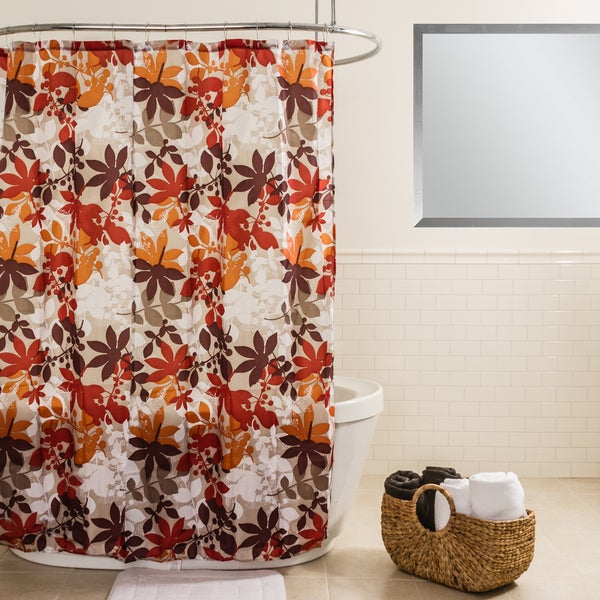 Shop Splash Home Floralie Earthy Fabric Shower Curtain With Hooks