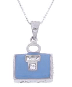 Sterling Silver CZ Blue Handbag Pendant