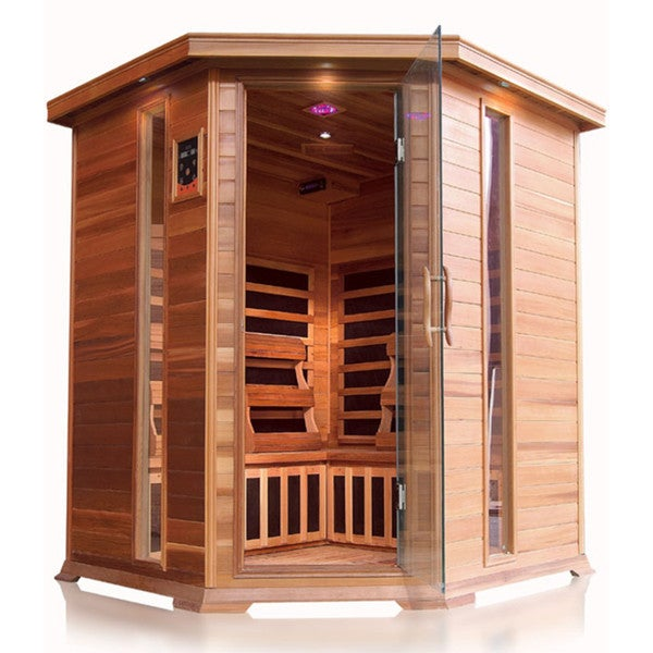 Bristol Bay 4-person Corner Cedar Sauna with Carbon Heaters, Chromatherapy Lighting, FM Radio with MP3, and Dual Control Pads