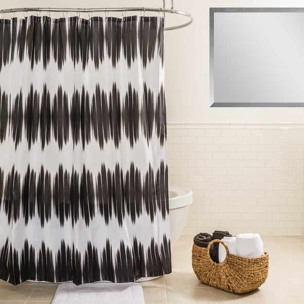 Splash Home Kano Black Fabric Shower Curtain