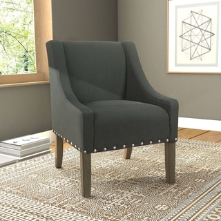 Link to HomePop Modern Swoop Accent Chair with Nailhead Trim - Dark Charcoal Similar Items in Accent Chairs