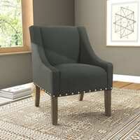 Deals on HomePop Modern Swoop Accent Chair with Nailhead Trim