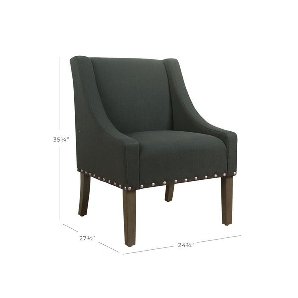 HomePop Modern Swoop Accent Chair with Nailhead Trim - Dark Charcoal