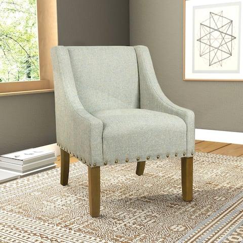 HomePop Modern Swoop Accent Chair with Nailhead Trim - Vapor Teal