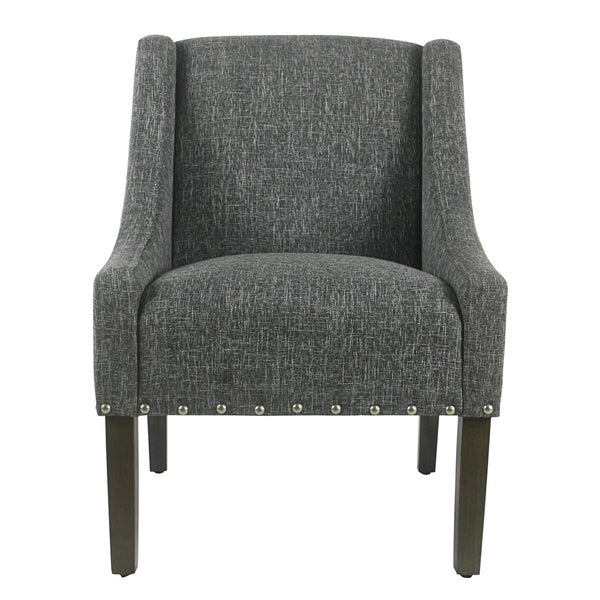 Contemporary Swivel Accent Chair Slate Gray: Shop HomePop Modern Swoop Accent Chair With Nailhead Trim