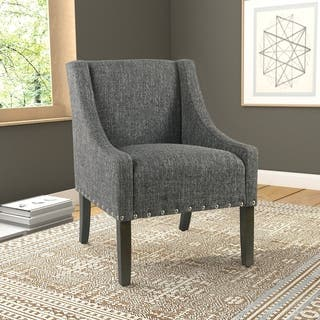 Homepop Modern Swoop Accent Chair With Nailhead Trim Slate Grey