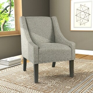 HomePop Modern Swoop Accent Chair with Nailhead Trim - Sterling Grey