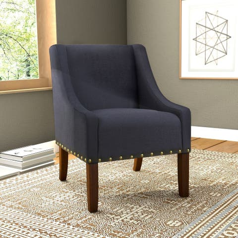 HomePop Modern Swoop Accent Chair with Nailhead Trim - Deep Navy