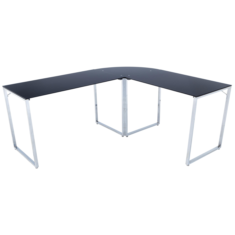 Poly and Bark Newhalem L-Shaped Desk (Chrome), Black, Siz...