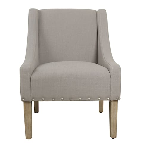 HomePop Modern Swoop Accent Chair with Nailhead Trim - Tan