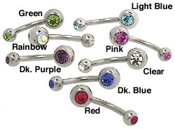 Carolina Glamour Collection 14g Petite Double Jeweled Surgical Steel Curved Barbell
