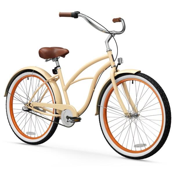 "26"" sixthreezero Scholar Three Speed Beach Cruiser Women's Bicycle, Cream"