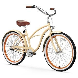 "26"" sixthreezero Scholar Three Speed Beach Cruiser Women's Bicycle, Cream"