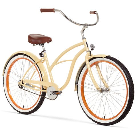 "26"" sixthreezero Scholar Single Speed Beach Cruiser Women's Bicycle, Cream"