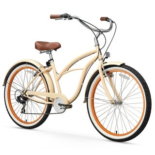 "26"" sixthreezero Scholar 7-Speed Beach Cruiser Women's Bicycle, Cream"