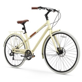 "26"" sixthreezero Reach Your Destination 7-Speed Hybrid Beach Cruiser Women's Bicycle, Cream"