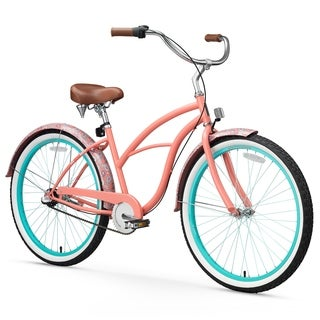 "26"" sixthreezero Paisley Three Speed Beach Cruiser Women's Bicycle, Coral Pink"