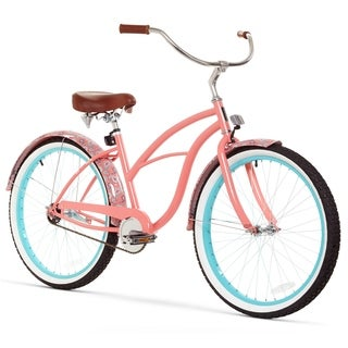 "26"" sixthreezero Paisley Single Speed Beach Cruiser Women's Bicycle, Coral Pink"