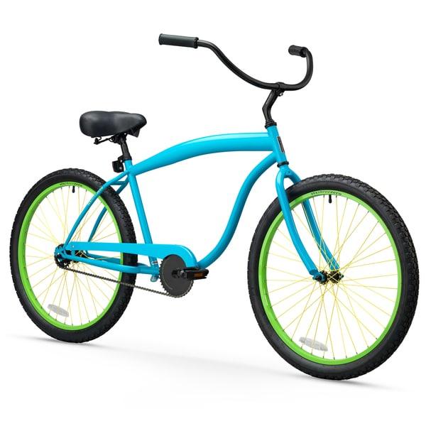 "26"" sixthreezero In The Barrel Single Speed Beach Cruiser Men's Bicycle, Retro Neon Blue"