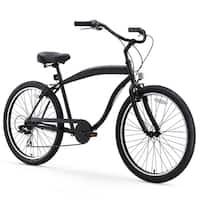 "26"" sixthreezero In The Barrel Seven Speed Beach Cruiser Men's Bicycle, Matte Black"