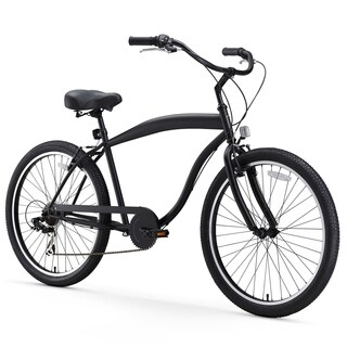 "26"" sixthreezero In The Barrel Seven Speed Beach Cruiser Men's Bicycle, Matte Black"