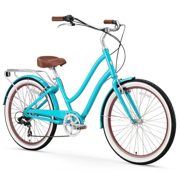 """26"""" sixthreezero EVRYjourney Seven Speed Step-Through Touring Women's Hybrid Bicycle, Teal"""