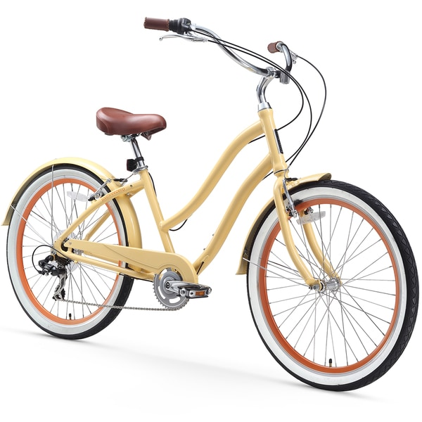 "26"" sixthreezero EVRYjourney Seven Speed Step-Through Touring Hybrid Women's Bicycle, Cream"