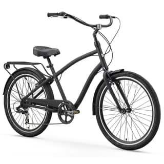"26"" sixthreezero EVRYjourney Seven Speed Sport Hybrid Men's Cruiser Bicycle, Matte Black|https://ak1.ostkcdn.com/images/products/15672775/P22098561.jpg?impolicy=medium"