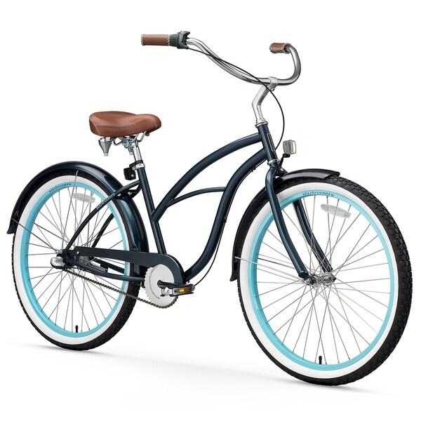 "26"" sixthreezero Classic Edition Three Speed Beach Cruiser Women's Bicycle, Dark Blue"