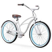 """26"""" sixthreezero BE Three Speed Beach Cruiser Women's Bicycle, White with Blue Rims"""