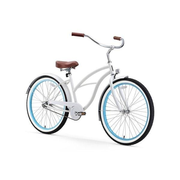 "26"" sixthreezero BE Single Speed Beach Cruiser Women's Bicycle, White with Blue Rims"