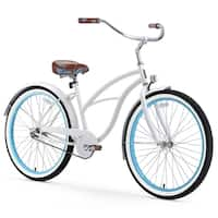 "26"" sixthreezero BE Single Speed Beach Cruiser Women's Bicycle, White with Blue Rims"