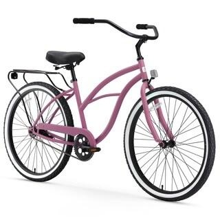 "26"" sixthreezero Around the Block Single Speed Beach Cruiser Women's Bicycle, Light Plum"