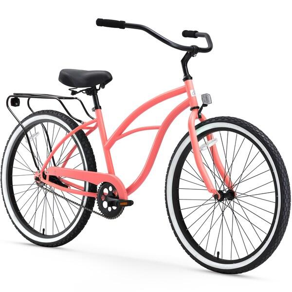 "26"" sixthreezero Around the Block Single Speed Beach Cruiser Women's Bicycle, Coral"