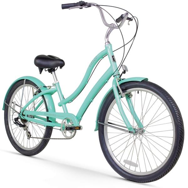 """26"""" Firmstrong Women's CA-520 Seven Speed Beach Cruiser Bicycle, Mint Green"""