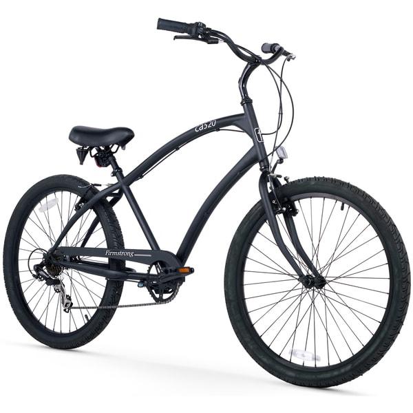 """26"""" Firmstrong Men's CA-520 Seven Speed Beach Cruiser Bicycle, Matte Black"""