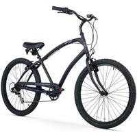 "26"" Firmstrong Men's CA-520 Seven Speed Beach Cruiser Bicycle, Matte Black"